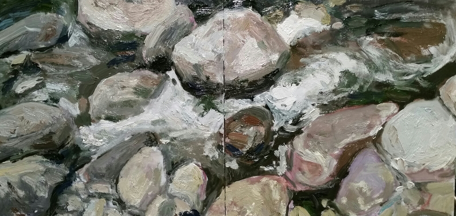 Oil painting Cascade Brook  diptych by Michael  Gaudreau