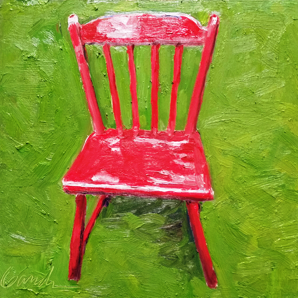 Oil painting Happy chair  8x8in oil  by Michael  Gaudreau
