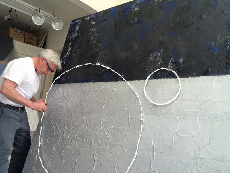 Working on: RING #1. Barbed Wire painting  2015. by John Turner