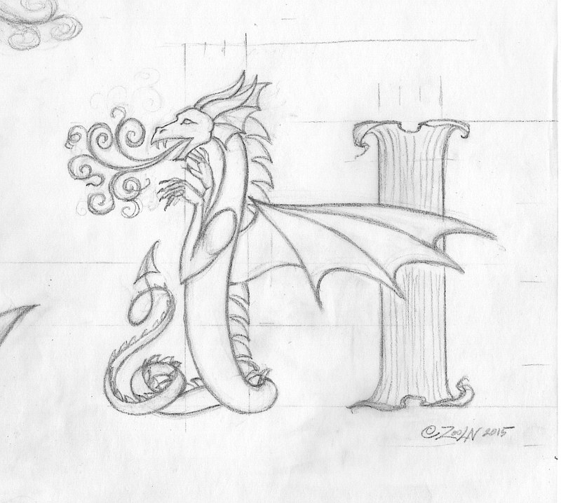 "Drawing hicsuntdraco sketch""H""-3.0 by Sue Ellen Brown"