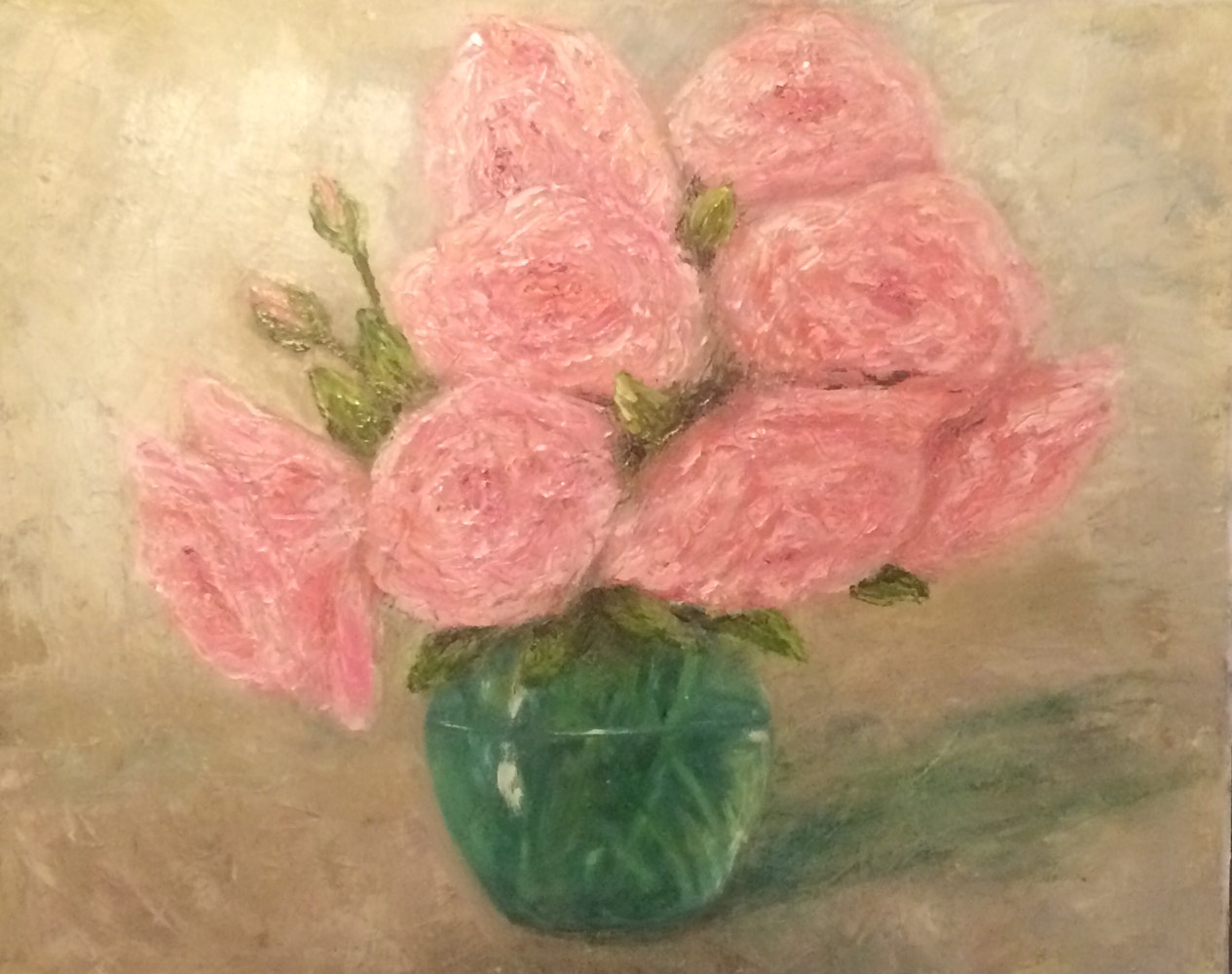 Oil painting Tea Roses by Yvonne Shaffer