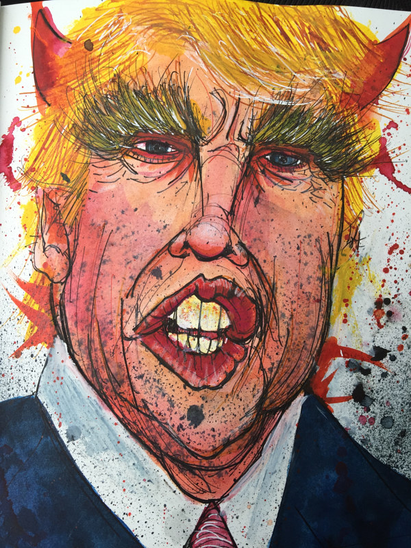 Mixed-media artwork eldiablotrumpo by Joey Feldman