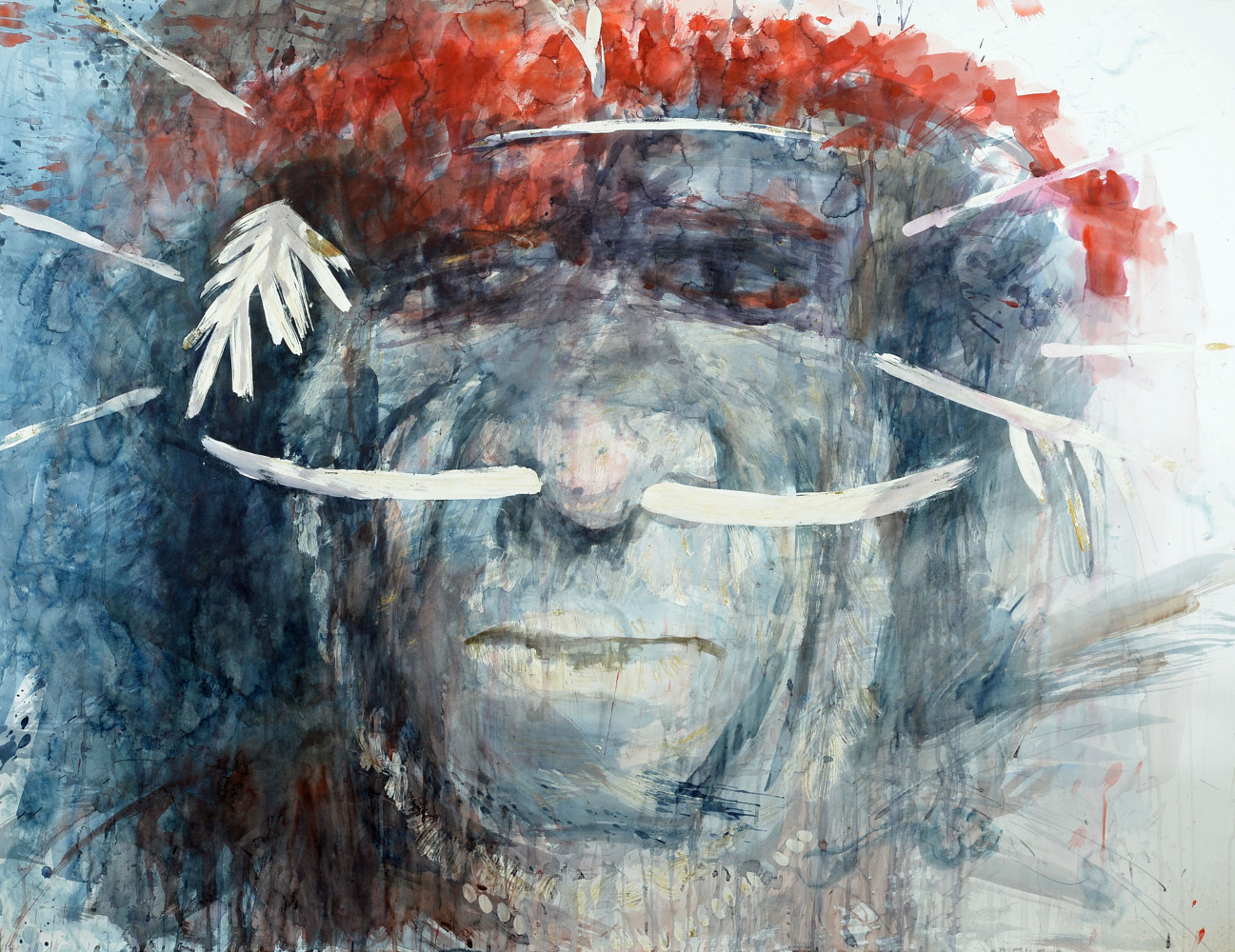 Watercolor Dani warrior 9 by Boudewijn Korsmit