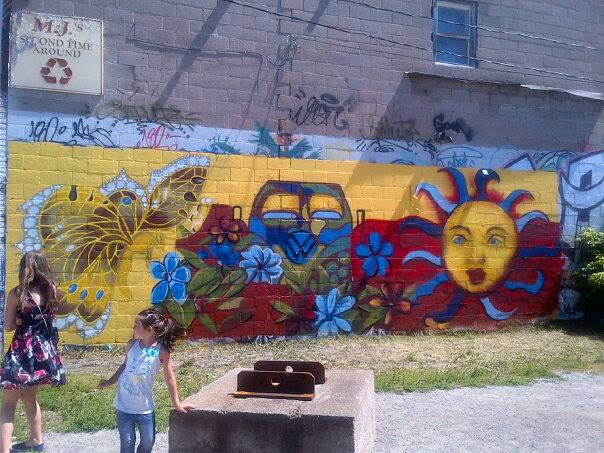 Painting Graffiti Reframed-youth mural project-Sault Ste. Marie, Ontario by Sharon  Hunter