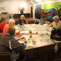 Painting Red Pine Elders painting workshop, Mississauga First Nation, Ontario by Sharon  Hunter