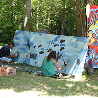 Painting Mississauga First Nation Community Mural Project-Blind River,  by Sharon  Hunter