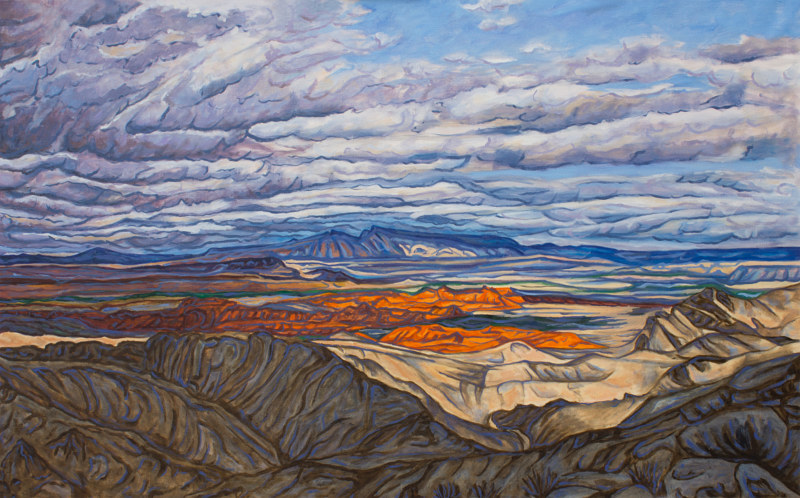 Oil painting Storm Over the Valley of Fire by Crystal Dipietro