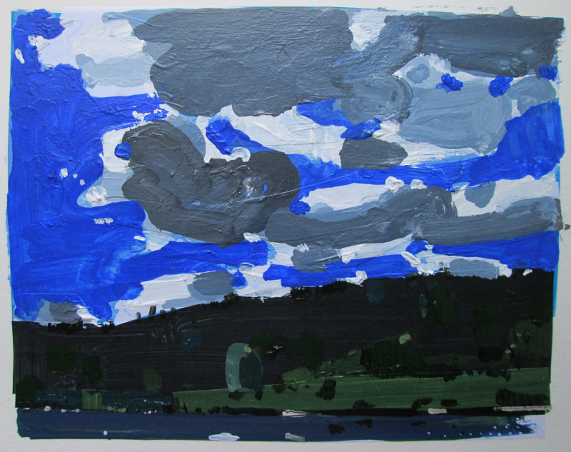 Acrylic painting Trout Pond Sky, July 30 by Harry Stooshinoff