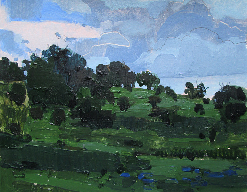 Acrylic painting Dusk on Lost Dog Hill by Harry Stooshinoff