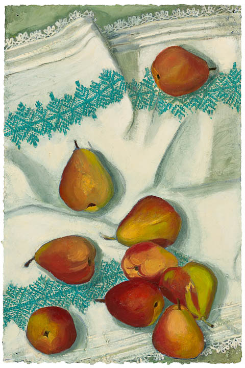 Drawing Tumbling Pears with Turquoise Tea Towel  * by Patty Yehle