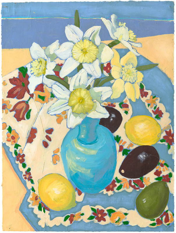 Daffodiles and The Blue Vase by Patty Yehle