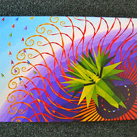 "Print Reproduction of larger painting printed on canvas. ""Ecstatic Lotus"". by Jon Harris"