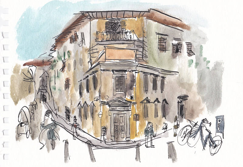 Drawing Piazza Sant'Ambrogio by Graham Hall