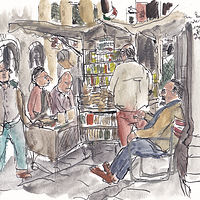 Drawing Bookseller, Loggia Pesce, Piazza dei Ciompi by Graham Hall