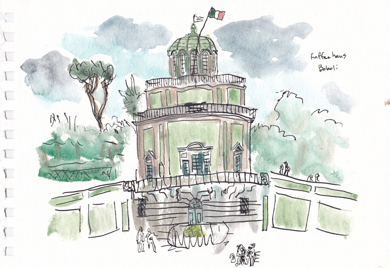 Drawing Kaffee Haus, Giardino Boboli by Graham Hall