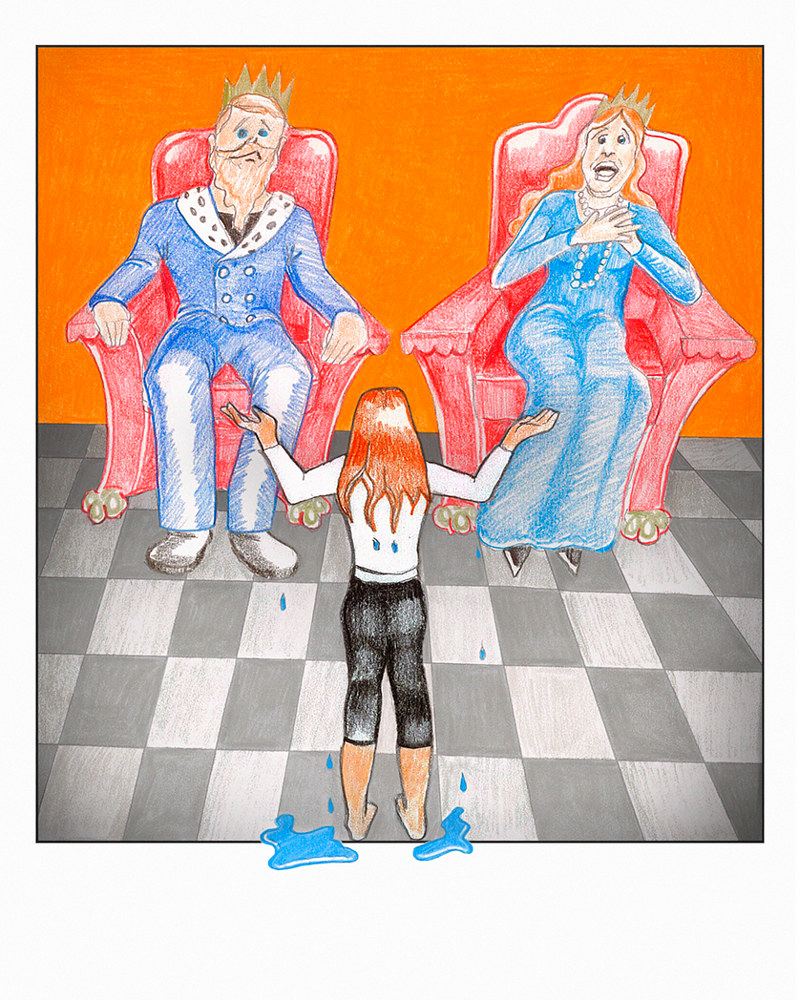 Mixed-media artwork King and Queen Meet with Princess by Ashley F Nitkin