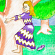 Mixed-media artwork Princess Climbing A Tree by Ashley F Nitkin