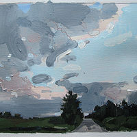 Acrylic painting Dusk, Home Line, August 16 by Harry Stooshinoff