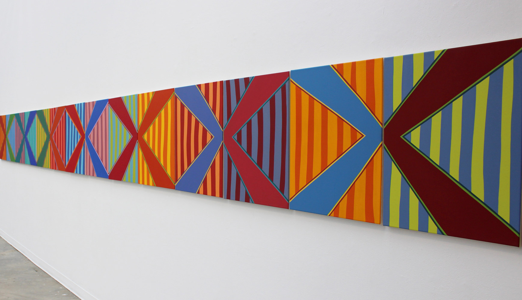 "Oil painting ""Stripe Set Variation (Long Line)"" 2015 by Christann Kennedy"