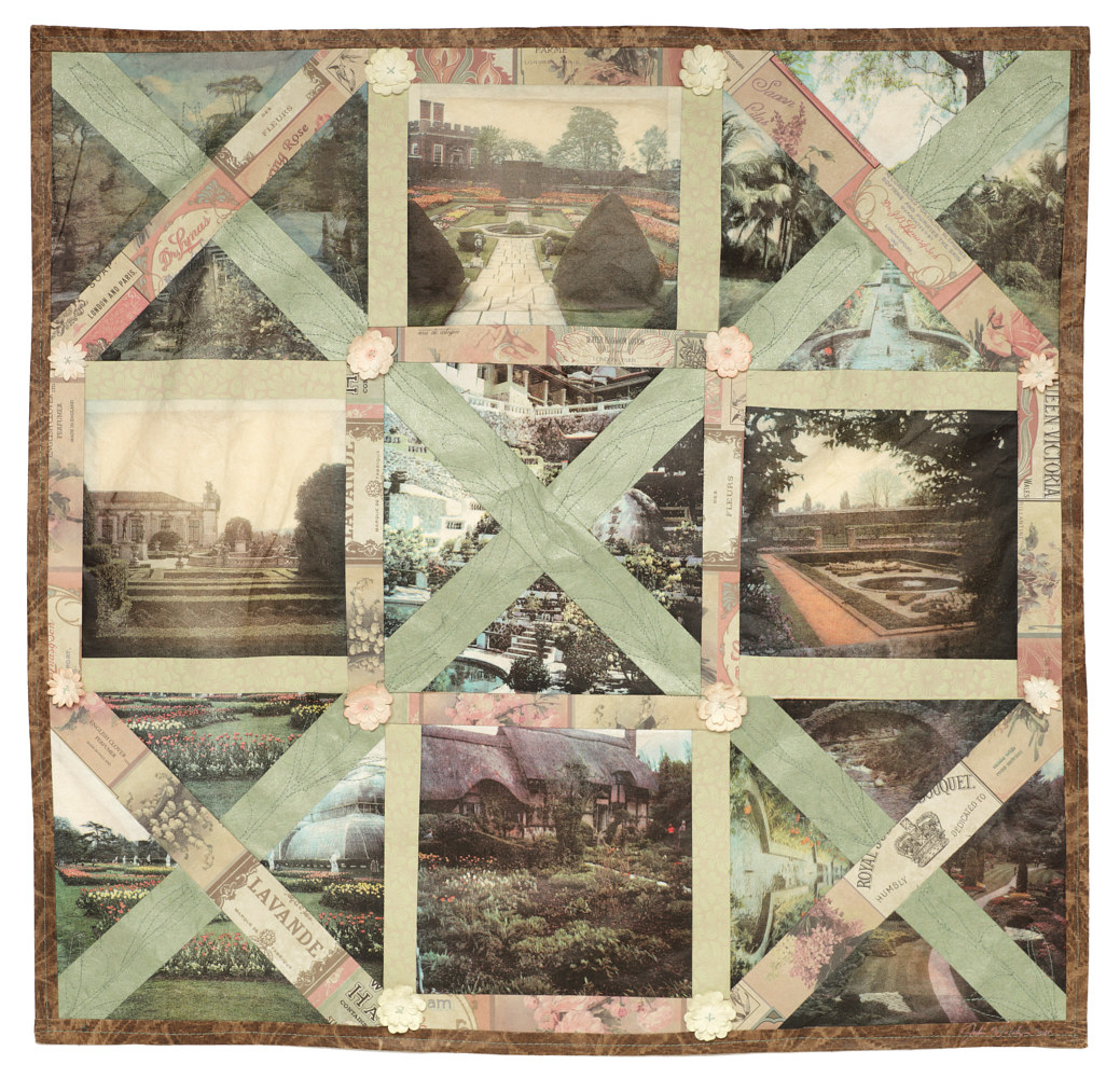 Gardener's Quilt , Four colour lithographs on kozo paper, assorted papers and thread, 60x60 cm. by Julie Mcintyre