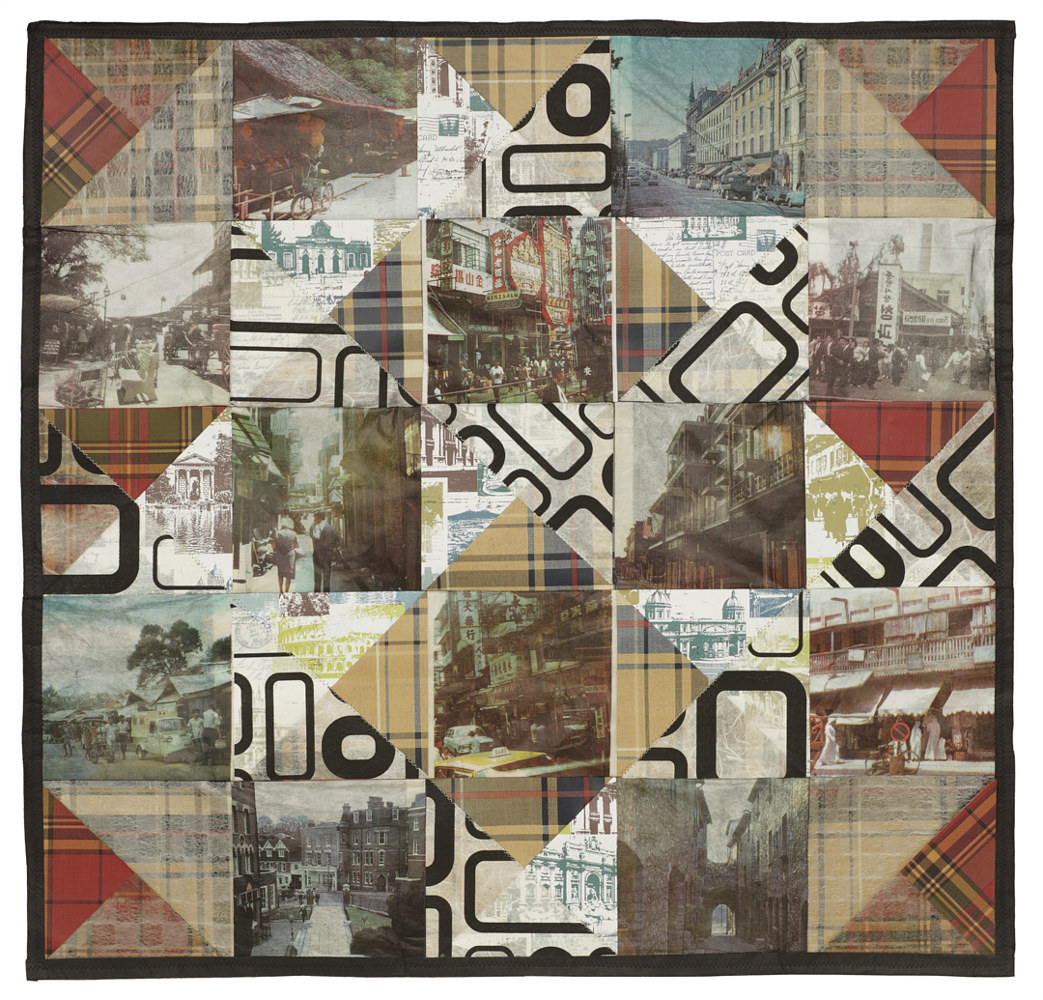 Streetscene Quilt, Four colour lithographs on kozo paper, assorted papers and thread, 60 x 60 cm by Julie Mcintyre