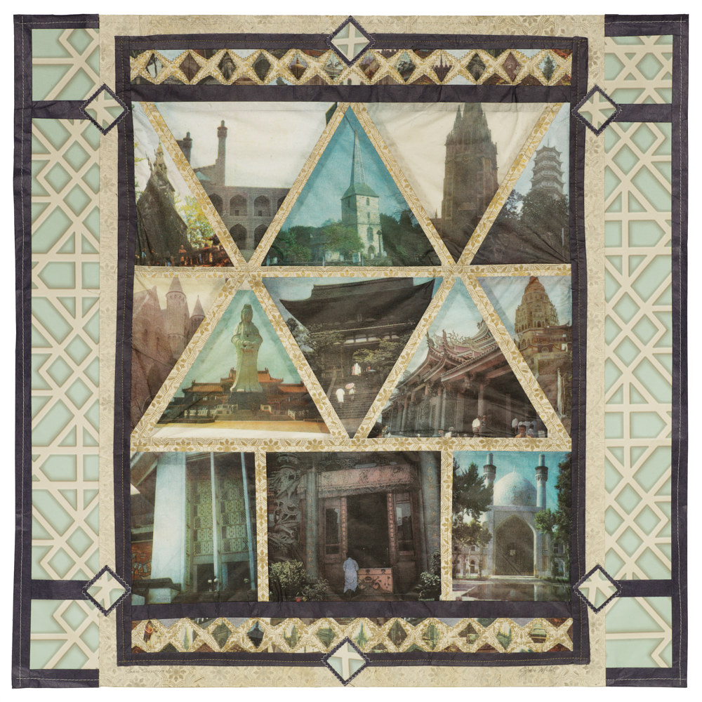Blessed Quilt, Four colour lithographs on kozo paper, assorted papers and thread, 60 x 60 cm. by Julie Mcintyre