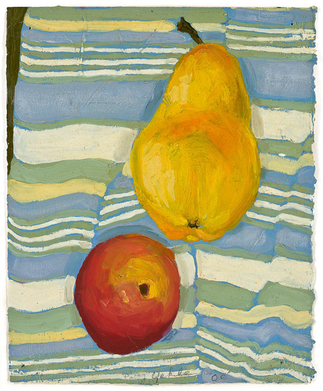 Oil painting Little Pear on Striped Tea Towel by Patty Yehle