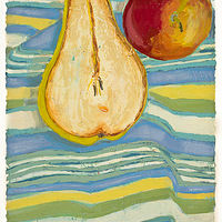 Oil painting Sliced Pear on Striped Tea Towel  by Patty Yehle