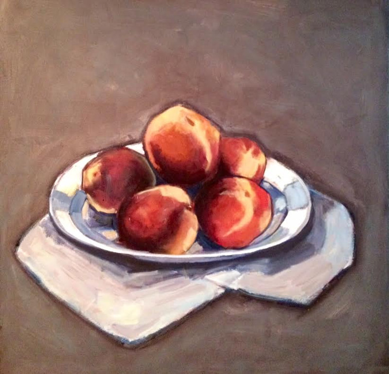 Oil painting Peaches by Sarah Trundle