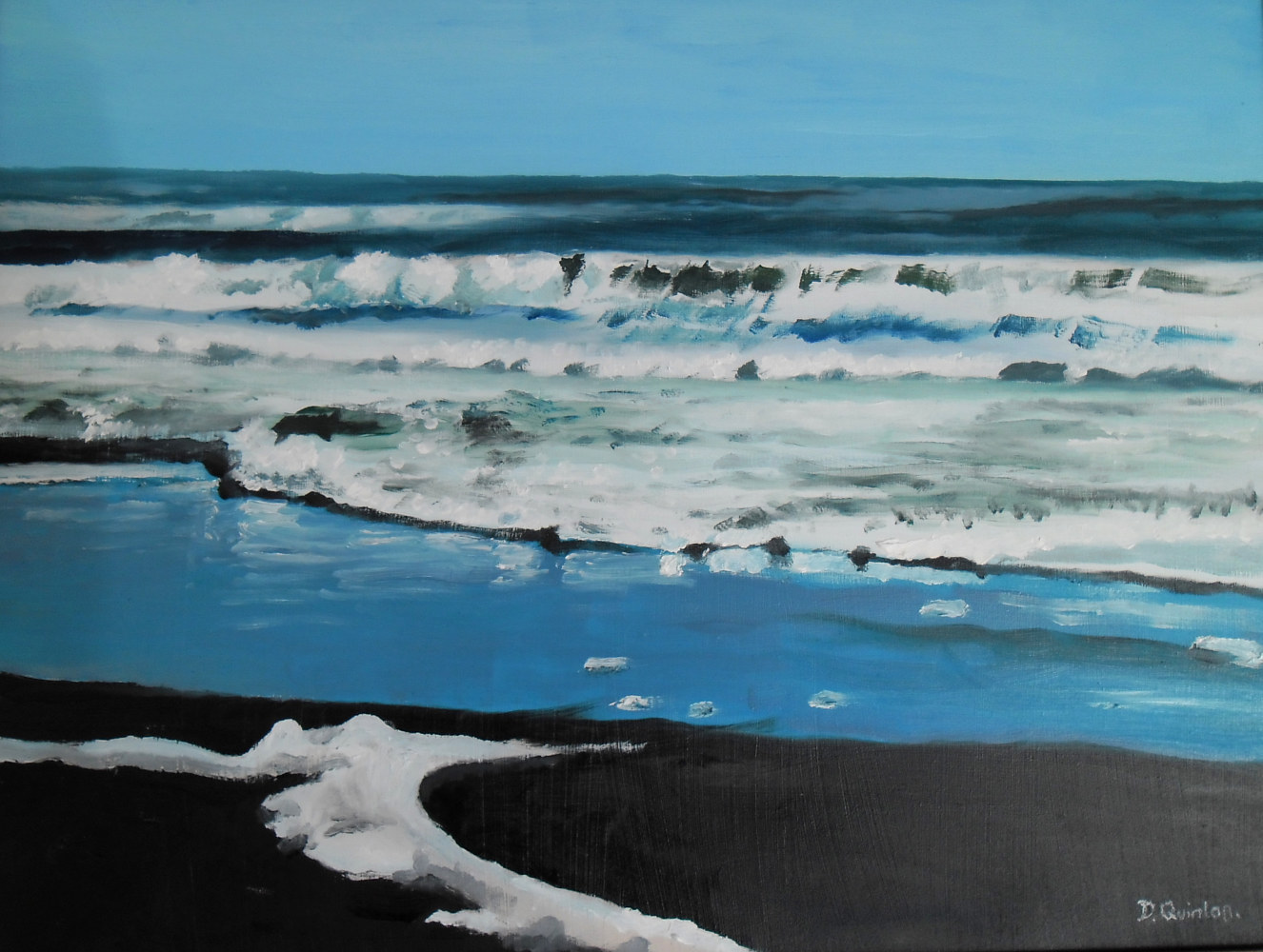 Oil painting On Fitzroy Beach by David Quinlan