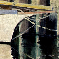 Oil painting Waiuku Wharf, approaching high tide by David Quinlan