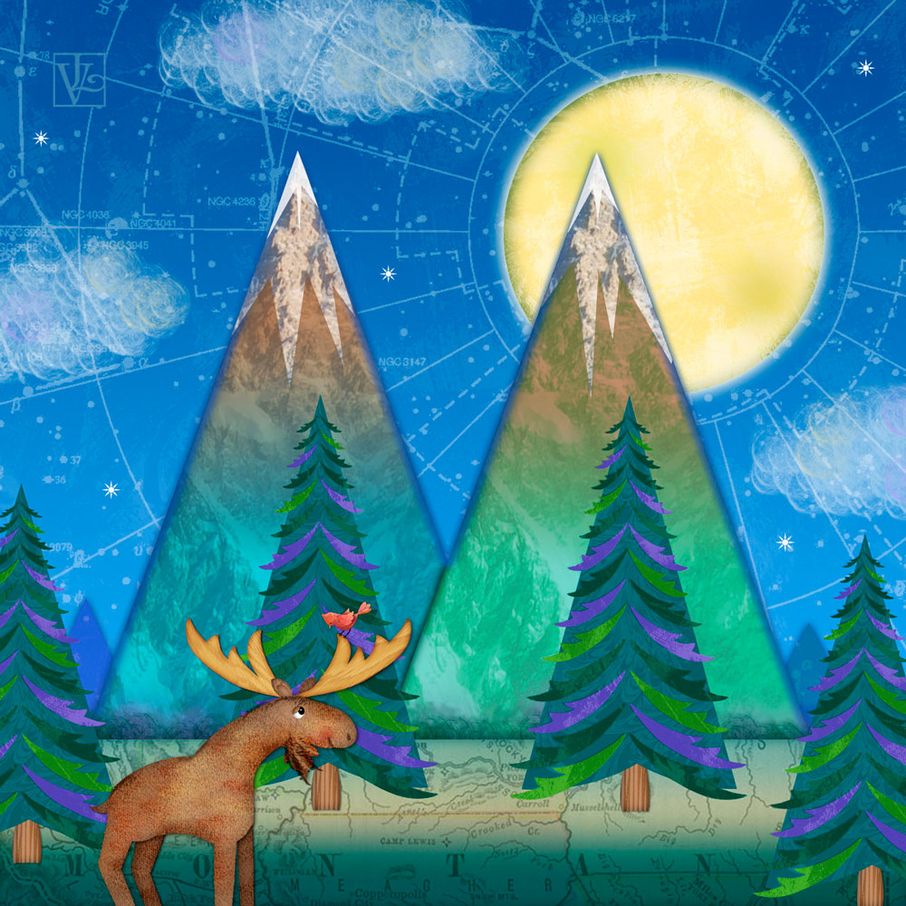 M is for Mountains and Moon  by Valerie Lesiak