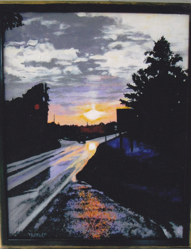 Acrylic painting Edgefield Sunset After the Rain by Ron Buttler