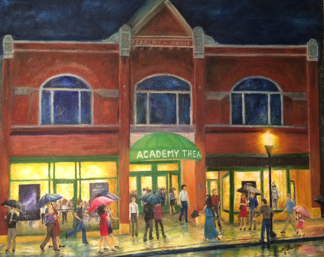Oil painting Opening Night at the Academy Theatre by Yvonne Shaffer