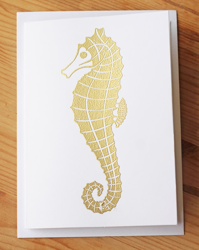 Seahorse Linocut design by ROSE WILLIAMS