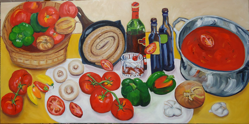 Oil painting Making Mom's Tomato Sauce by Michelle Marcotte