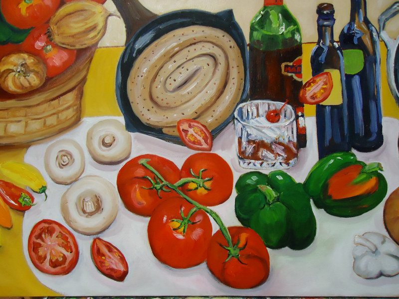Oil painting Making Mom's Tomato Sauce (inset showing detail) by Michelle Marcotte