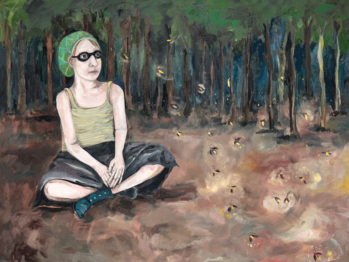 Oil painting A Girl in the Woods by Katherine Bennett