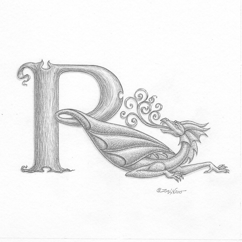 "Painting Dracoserific ""R"" in process by Sue Ellen Brown"