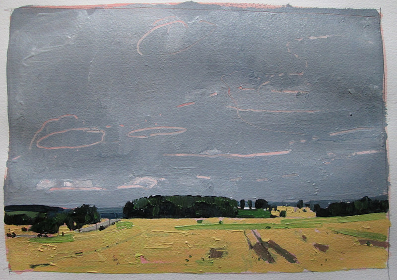 Acrylic painting Bean Fields, September 13 by Harry Stooshinoff