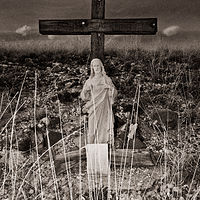 Cristo Descanso, on the road to Magdalena, NM. 2015 by Jim Holbrook
