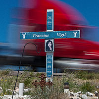Francine vigil, Old Route 66 , west of Albuquerque, NM. 2015 by Jim Holbrook