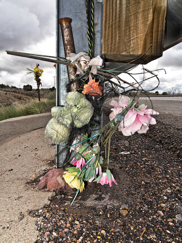 Guard Rail Descanso with Frayed Rope, near Cuba, NM. 2015 by Jim Holbrook