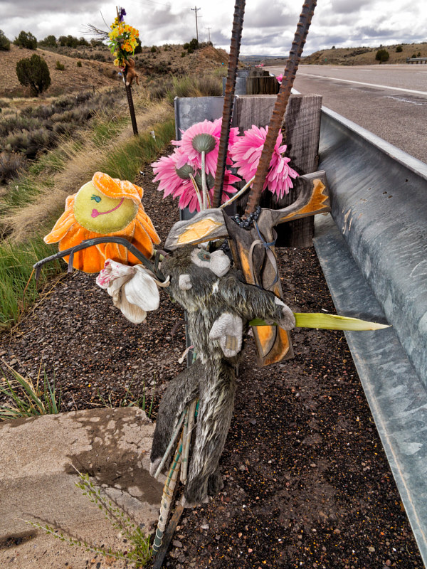 Guard Rail Descanso with Stuffed Toys, near Cuba, NM. 2015 by Jim Holbrook