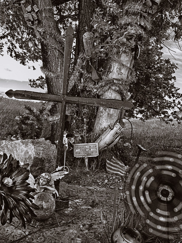 Iron Cross with Damaged Tree,  near Pecos NM. 2015 by Jim Holbrook