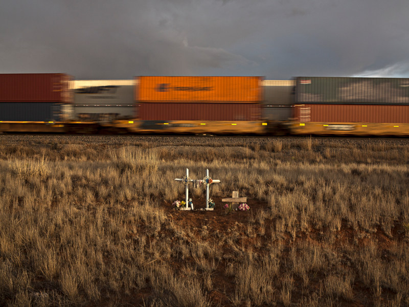 Unmarked Descansos near the tracks, Manzano, NM 2015 by Jim Holbrook