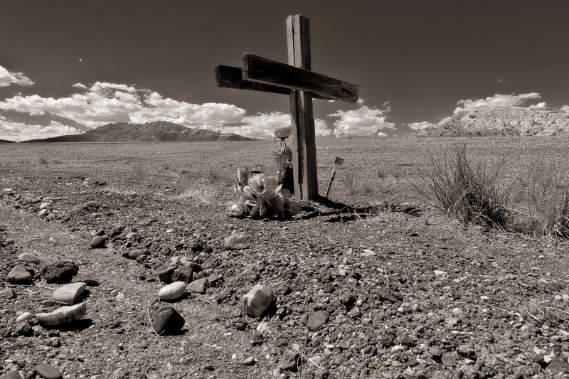 Wooden Cross in the  I 40 Median, West of Albuquerque. 2015. by Jim Holbrook