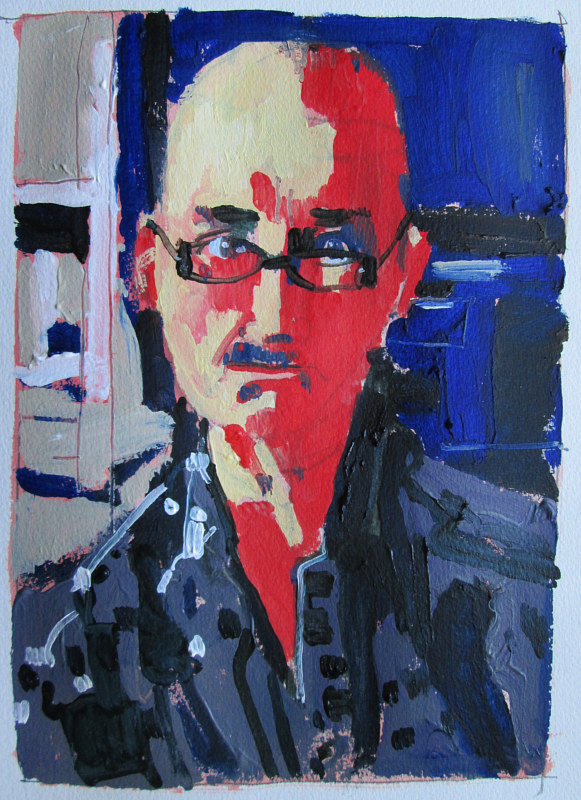 Acrylic painting Self with Glasses by Harry Stooshinoff