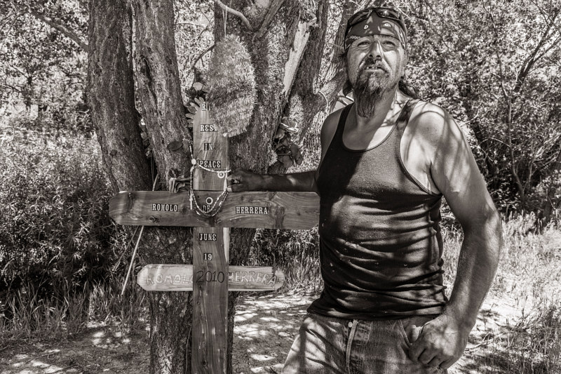 Harold Trujillo with Descanso he Made for his friend, Penasco, NM. 2015 by Jim Holbrook