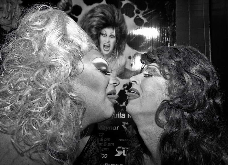 Kiss, and Makeup: Female Impersonators at Young Girl's Birthday Party, Albuquerque, 2011 by Jim Holbrook